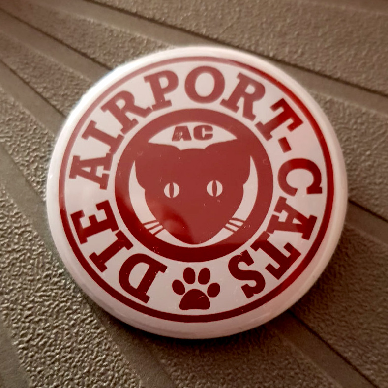 Button Airportcats Logo - Rot